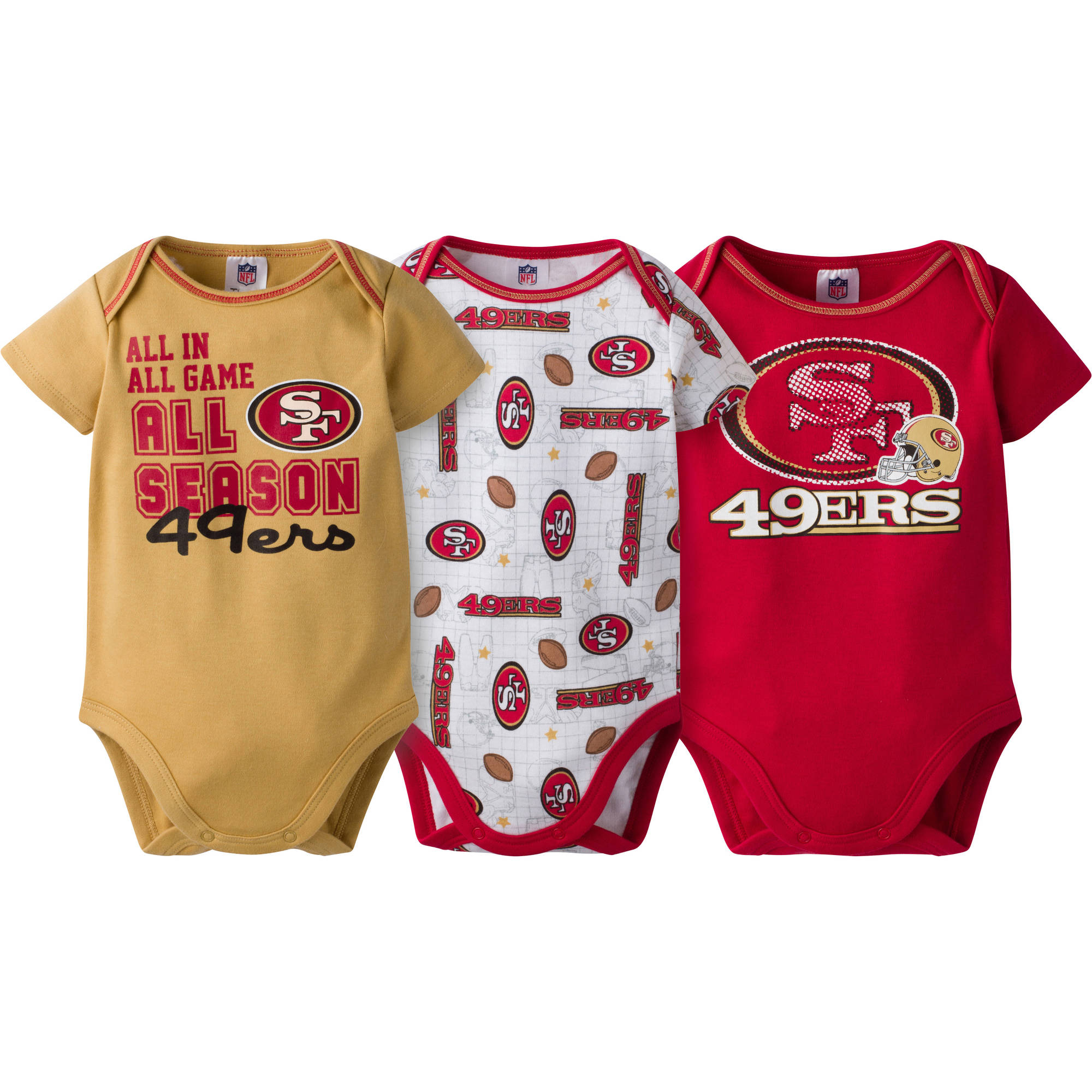 NFL San Francisco 49ers Baby Boys Short Sleeve Bodysuit Set, 3-Pack