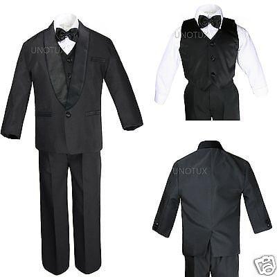 074291e47891c Baby Toddler Kid Teen Boy Wedding Formal Shawl Lapel Tuxedo Black Suit S-4T  5