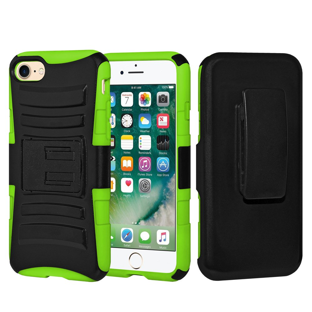 iPhone 7 Case Tempered Glass Combo Kit, Rugged TUFF Hybrid Dual Layer Hard Defender Case with Belt Clip Holster and Premium Protective Shockproof Screen Guard for iPhone 7 Black/ Neon Green