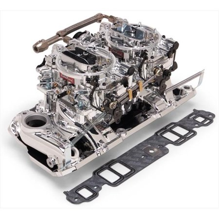 Air Gap Dual Quad Manifold - EDELBROCK 20254 Performer Rpm Dual-Quad Air-Gap Manifold And Carburetor Kit