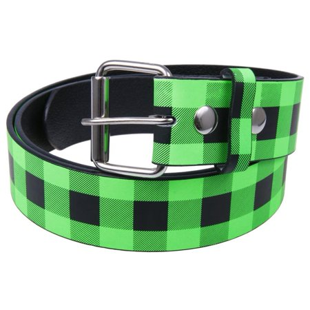 Green Plaid Leather Belt