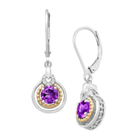 Duet 7/8 ct Natural Amethyst Drop Earrings with Diamonds in Sterling Silver and 14kt Gold