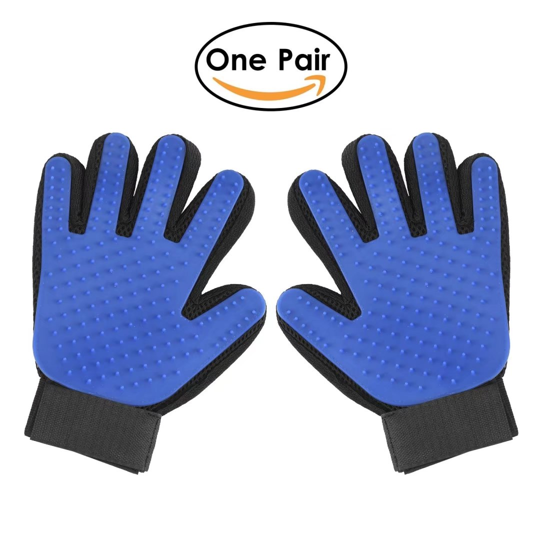 Pet Grooming Glove, 2-in-1 Hair Remover Mitt Gentle Deshedding Brush and Massage Tool for Dog, Cat, Horses with Long Short Fur(One Pair)