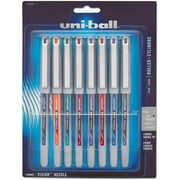 uni-ball Vision Needle Stick Roller Ball Pen, Assorted Ink, Fine, 8 per Pack