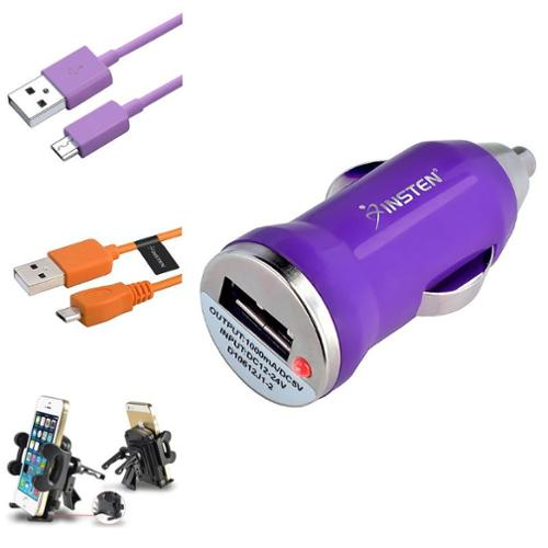 Insten 2x Cable Purple Car Charger Air Vent Holder For Samsung Galaxy S3 I9300 S4 i9500 Note 4 3 N9100 N9000
