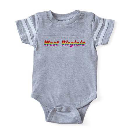 CafePress - W Virginia Rbw Txt - Cute Infant Baby Football Bodysuit