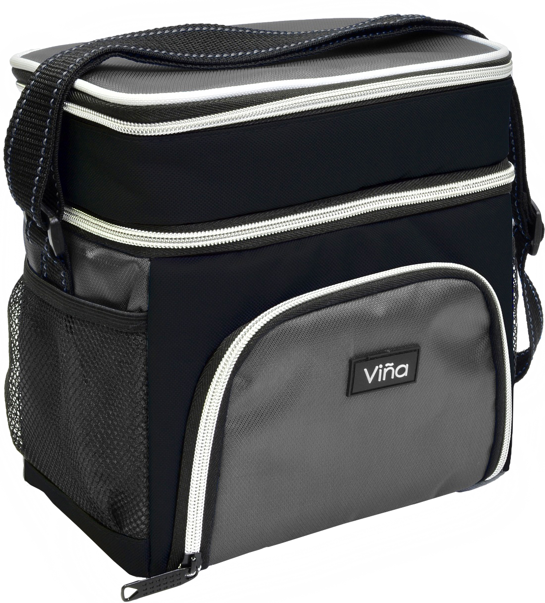 Vina Lunch Bag Cooler Tote Thermal Insulated Double Compartment with Zipper Closure Adjustable Shoulder Strap