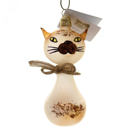 Golden Bell Collection TRANSLUCENT BROWN CAT Christmas Ornament Glittered An764 ()