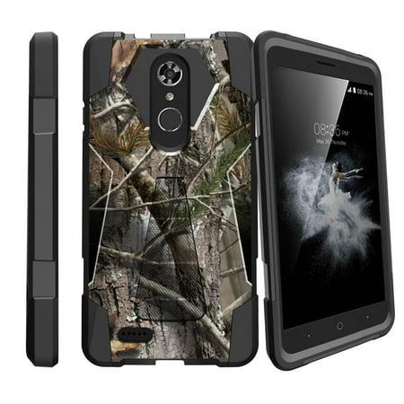 ZTE Max XL Case | ZTE ZMAX Pro 2 Case | ZTE Blade Max 3 Kickstand Case [Shock Fusion] Hybrid Hard Impact Kickstand Case Cover - Tree Bark Hunter Camo