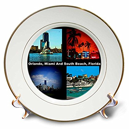 3dRose Orlando Miami And South Beach Florida, Porcelain Plate, 8-inch by 3dRose