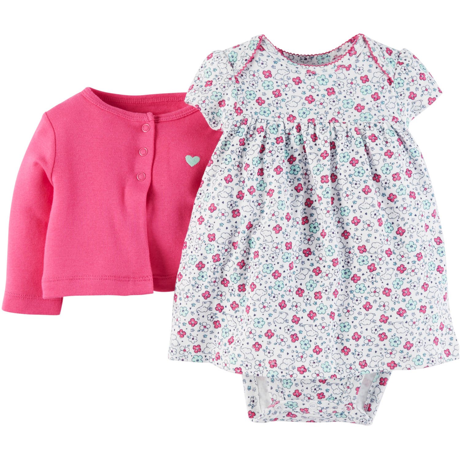 Child Of Mine Made By Carter's Newborn Baby Girl Dress And Cardigan 2-Piece Set