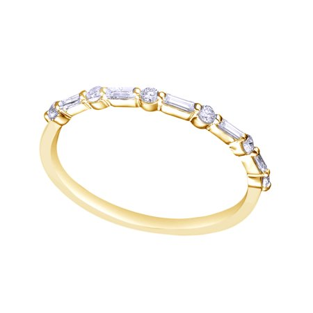 White Natural Diamond Half Eternity Wedding Band Ring In 10k Yellow Gold (0.3 Cttw)
