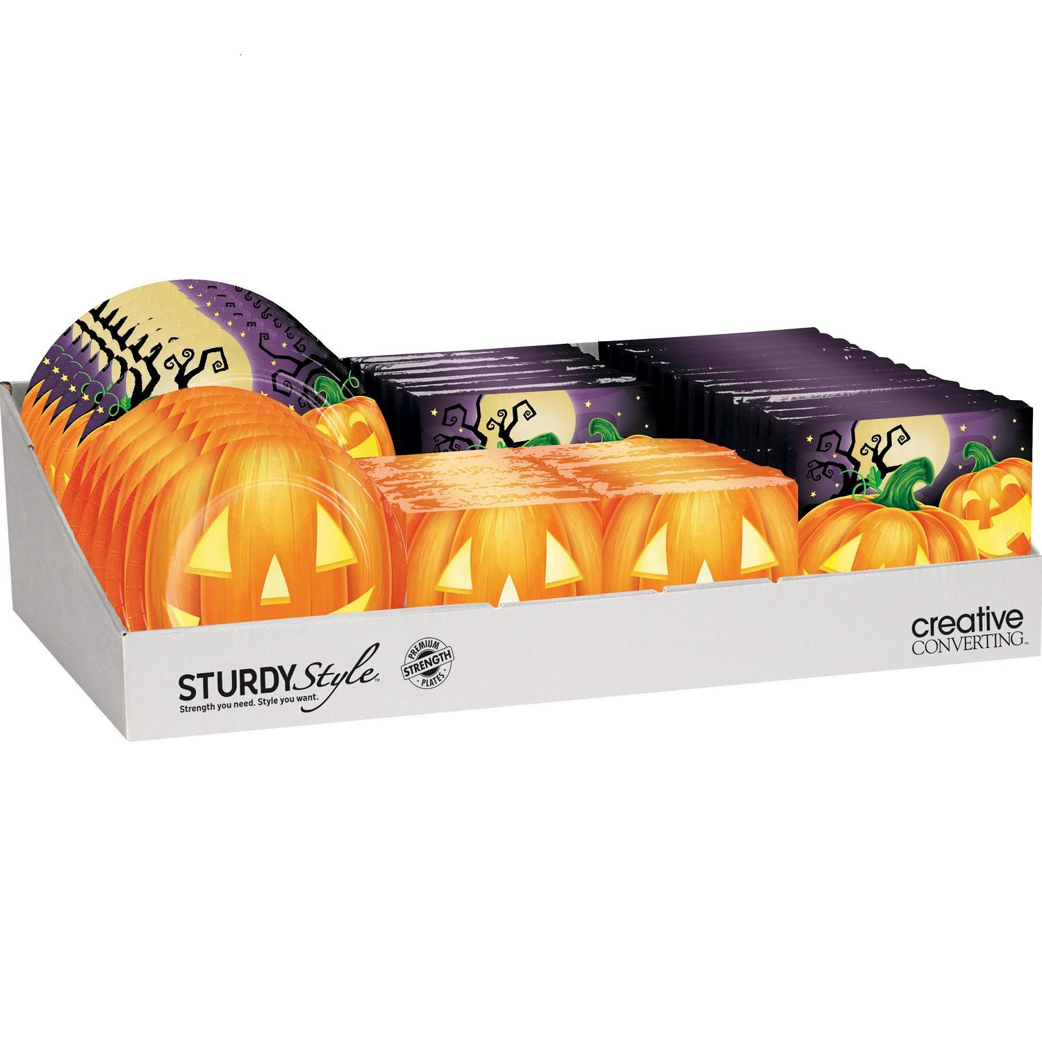 """Pack of 72 Orange and Purple HalloweenThemed Party Counter Display 24"""""""