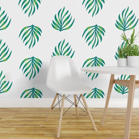 Peel and Stick Removable Wallpaper Tropical Palm Leaves Watercolor Sum