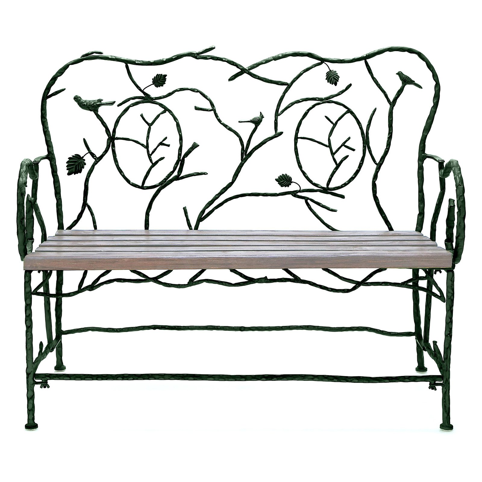 Decmode Metal and Wood Outdoor Bench, Multi Color