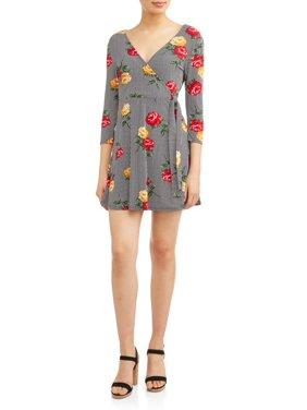 a3929bd084c3a Product Image Juniors  Printed Wrap Front Skater Dress