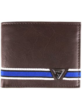 Guess Men's Brown Leather Billfold Passcase Wallet