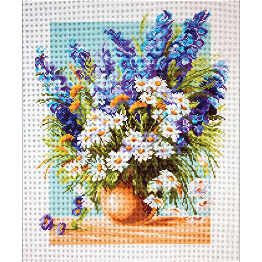 Collection D'Art Stamped Cross Stitch Kit, 37cm x 49cm, Blue Fountain