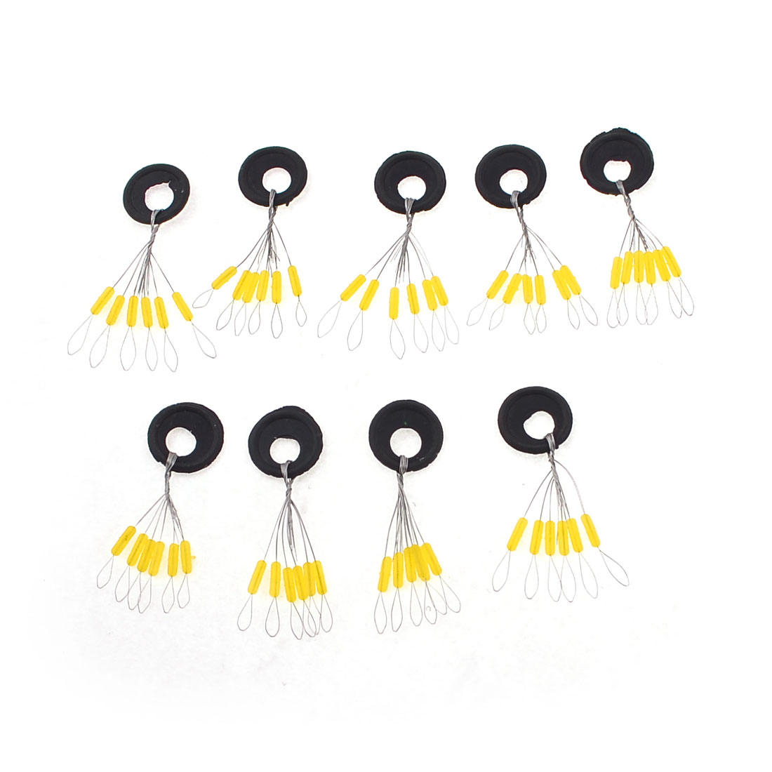 8mm x 2mm Cylindroid Shaped 6 in 1 Black Fishing Floaters 9 Pcs