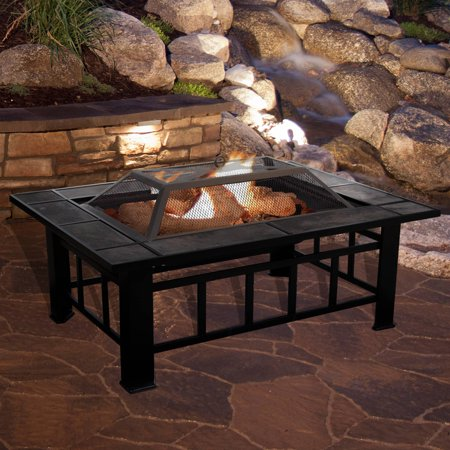 Fire Pit Set Wood Burning Pit Includes Screen Cover And