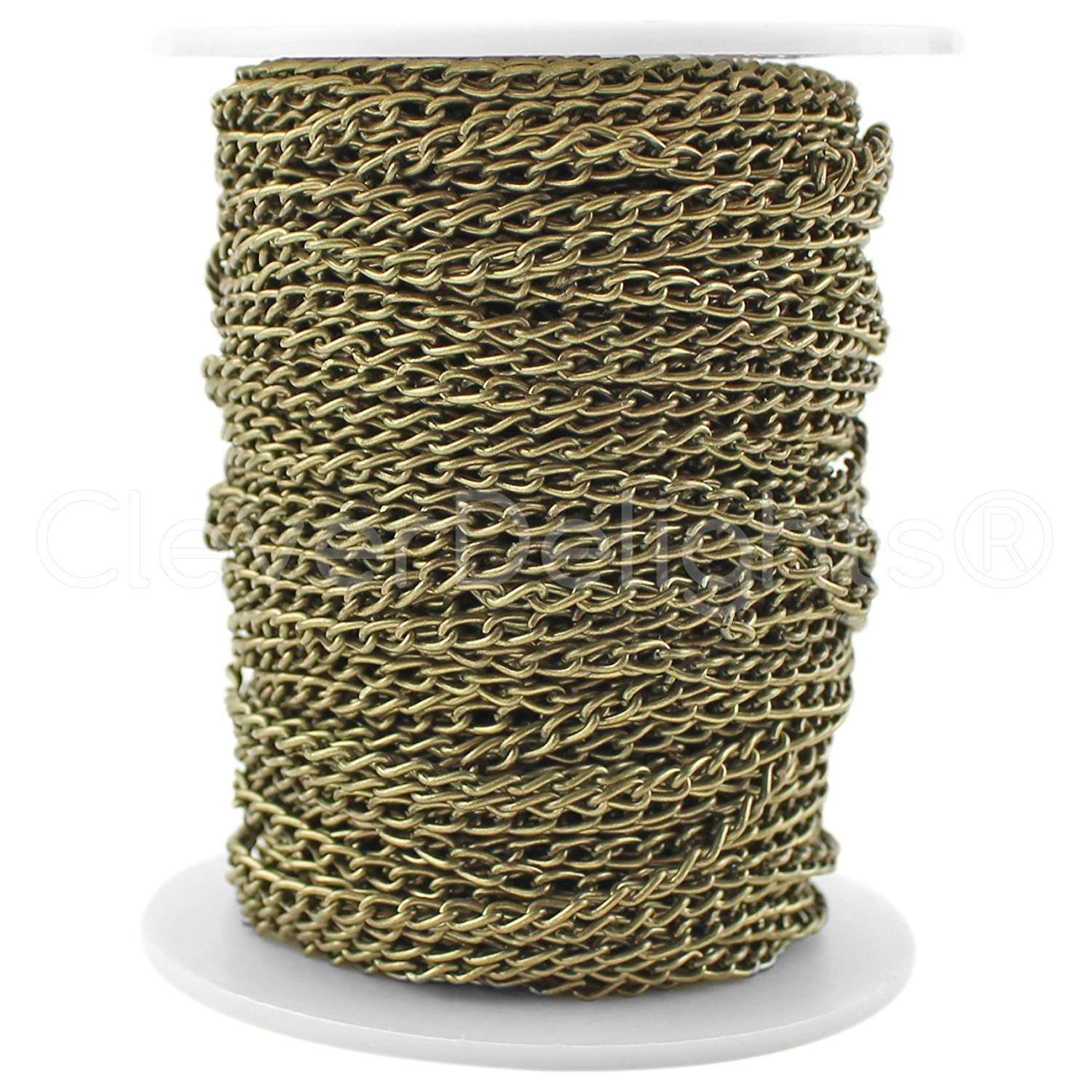 CleverDelights Curb Chain Spool - 3x5mm Link - Antique Bronze Color - 100 Feet