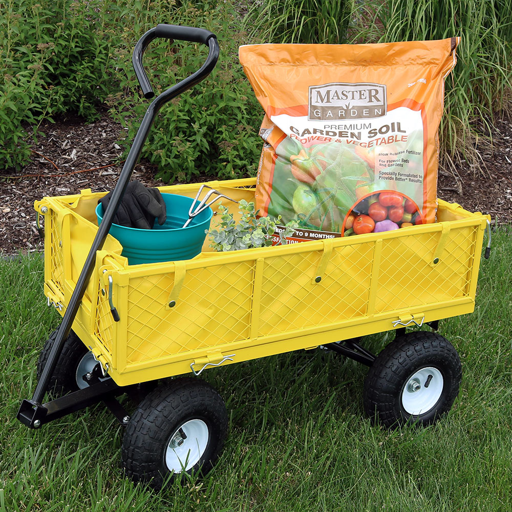 Sunnydaze Utility Steel Garden Cart with Liner, Outdoor Lawn Wagon with Removable Sides, Heavy-Duty 400 Pound Capacity, Yellow
