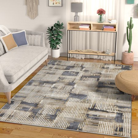 - Canny Grey & Yellow Modern Geometric High-Low Pile Area Rug 5x7 (5'3