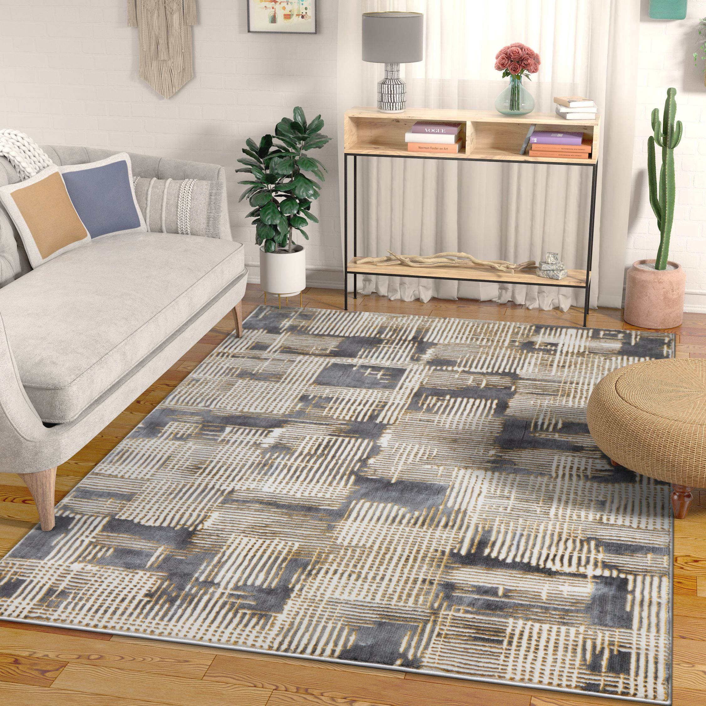 """Canny Grey & Yellow Modern Geometric High-Low Pile Area Rug 3x5 (3'11"""" x 5'3"""") Abstract Washed Out Boxes Carpet"""