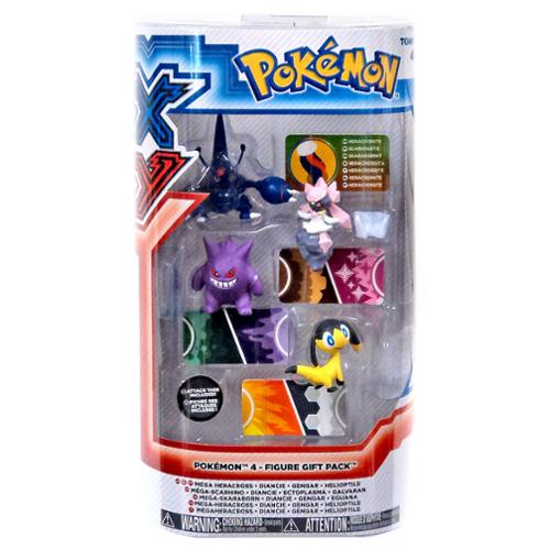 Pokemon XY Mega Heracross, Diancie, Gengar & Heliopatile Mini Figure 4-Pack (Pokemon Gengar Toy)