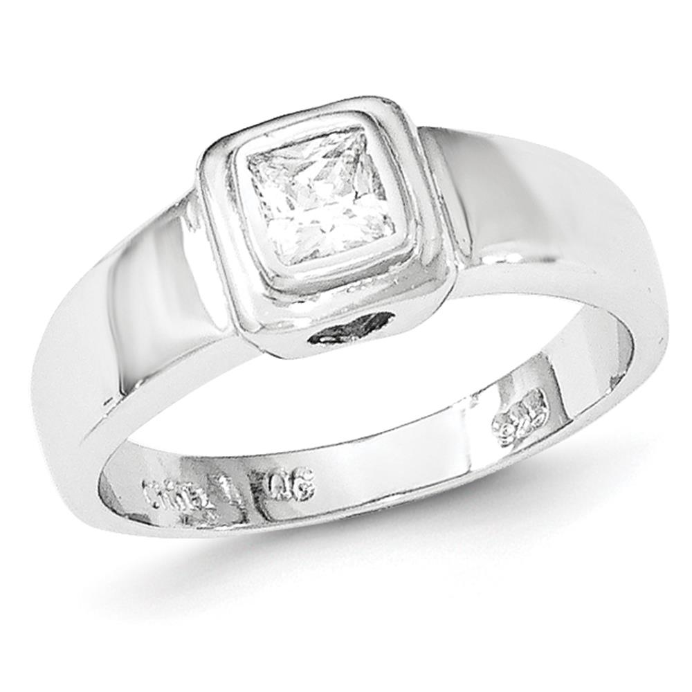 925 Sterling Silver Rhodium-plated Bezel Set Princess CZ Ring Size 6