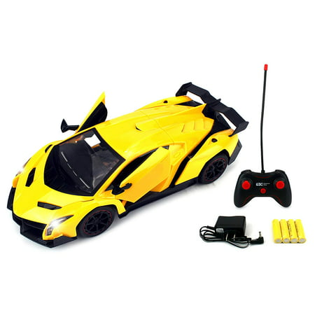 - Remote Control RC Sports Car 1:14 Scale Size Formula Hyper Car Rechargeable Ready To Run w/ LED Headlights, Opening Doors (Colors May Vary)