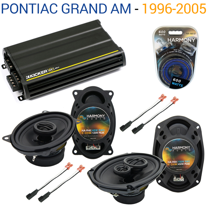 Pontiac Grand AM 1996-2005 OEM Speaker Upgrade Harmony R46 R69 & CX300.4 Amp - Factory Certified Refurbished