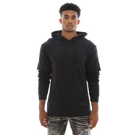 WT02 Men's Layered Long Sleeve Hooded T Shirt W/ Thermal - Layered Hooded Tee
