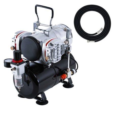 Piston Airbrush Compressor - Twin Piston AIRBRUSH AIR COMPRESSOR w/TANK-2Yr Warranty