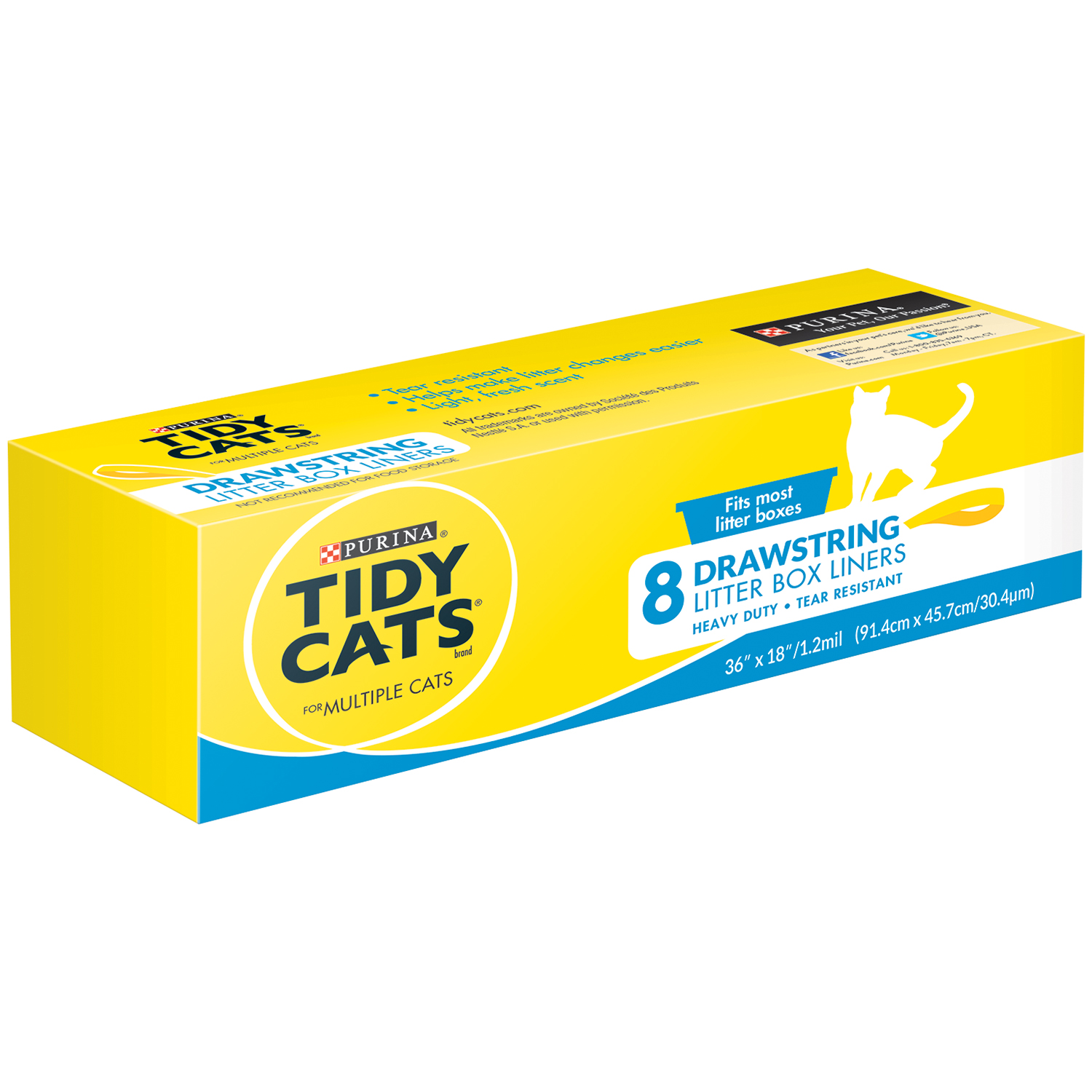 Purina Tidy Cats Drawstring Litter Box Liners for Multiple Cats 8 ct. Box