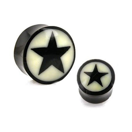 Pair Of Natural Buffalo Horn Saddle Plugs With Bone Star Inlay,Gauge (Thickness):00 (10Mm)