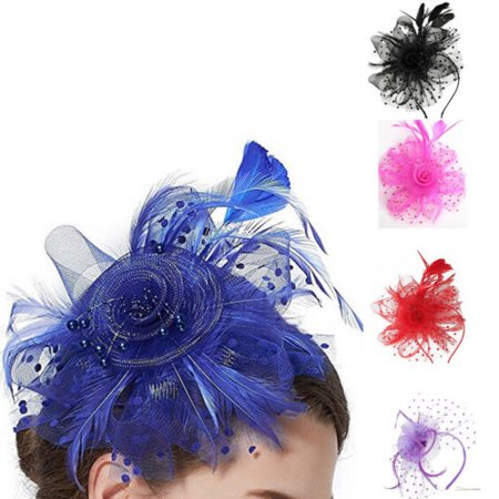 Feather Mesh Fascinators Hat Flower Ribbons With Headband Forked Clip](Purple Head Band)