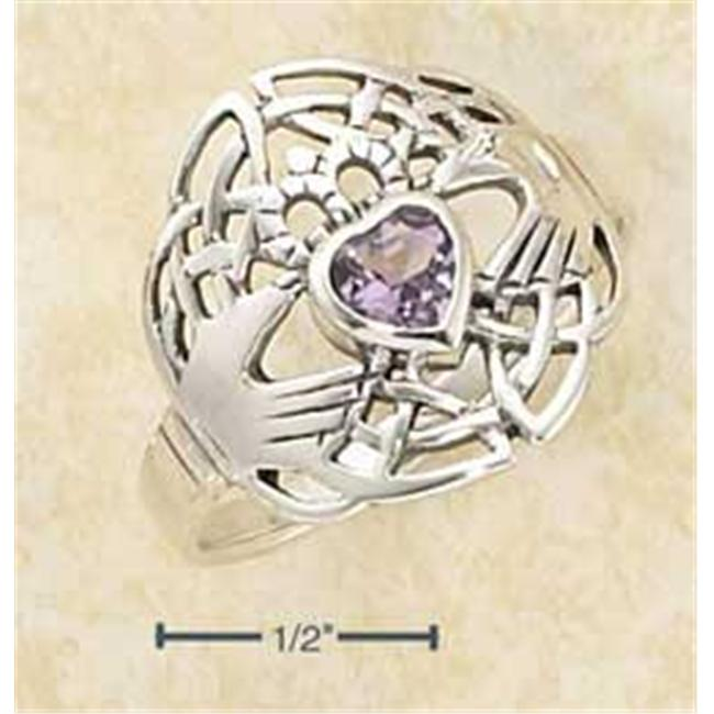 Plum Island Silver SR-2168-10 Sterling Silver Modern Claddagh Ring with Heart Shaped Amethyst Stone - Size 10