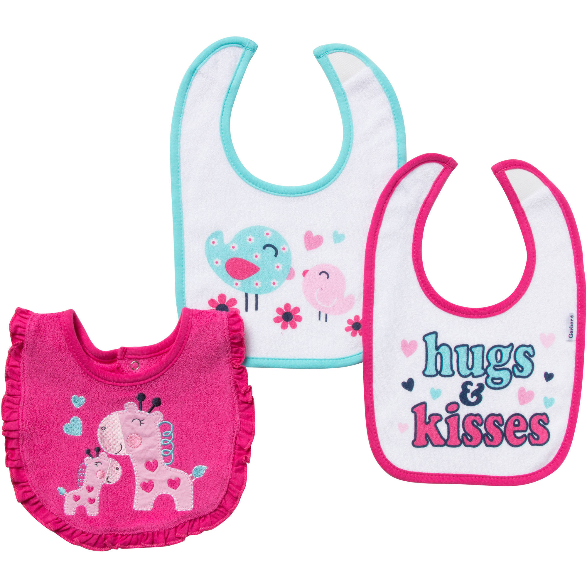 Gerber Terry Bibs, Girl, 3-Pack