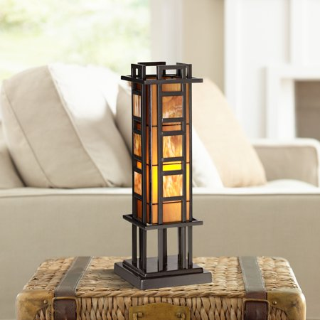 - Robert Louis Tiffany Mission Accent Table Lamp Bronze Iron Column Amber Stained Glass for Living Room Family Bedroom Office
