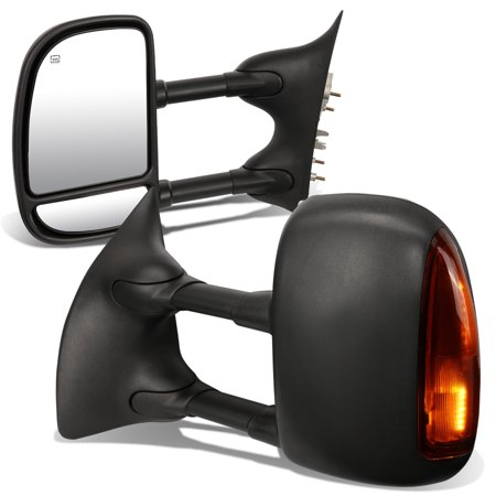 For 1999 to 2007 Ford F250 / 350 / 450 Pair of Black Powered + Heated Glass + Signal + Manual Extenable Side Towing Mirrors 05 06