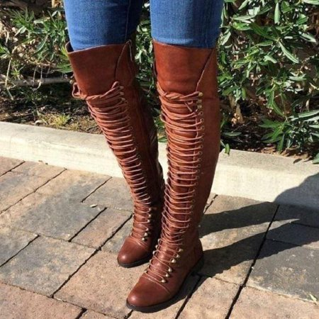 Women Over Knee Leather Shoes Round Toe Button High Boots Square Heel Casual Fashion Heel Knee High Stretch Boots