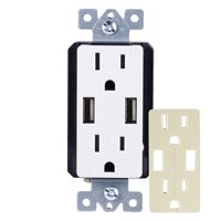 GE UltraPro In-Wall 2-Outlet, 2-USB Receptacle, Tamper Resistant, Changeable Faceplate, White - 40405