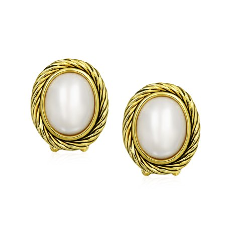 Oval White Simulated Mabe Pearls Cable Bezel Clip-On Earrings For Women Non Pierced Ears 14k Gold Plated Brass