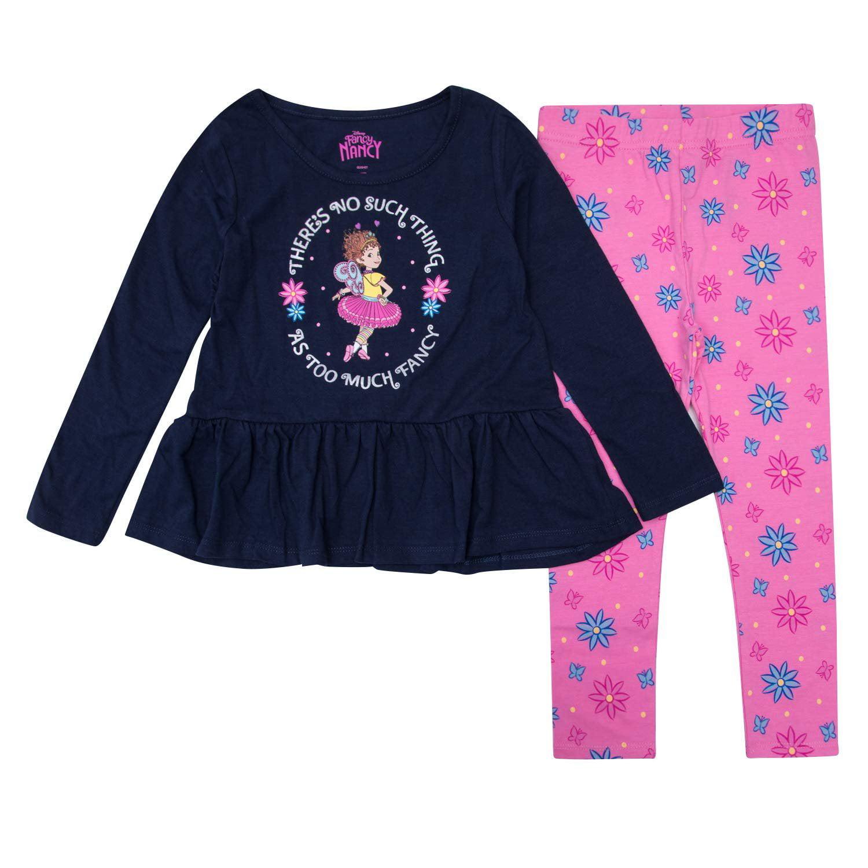 Navy /& Pink. Fancy Nancy Toddler Girls 2-Piece Long Sleeve Legging Set 4T