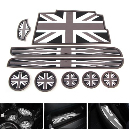 iJDMTOY 9pc Soft Silicone Black/Grey Union Jack Style Cup Holder Coasters, Side Door Compartment, Glove Box, Center Console Mats For 3rd Gen 2014-up MINI Cooper F56 3-Door