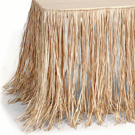 Natural Tan Raffia Table Skirt Fringe Decoration Hawaiian Luau - Raffia Table