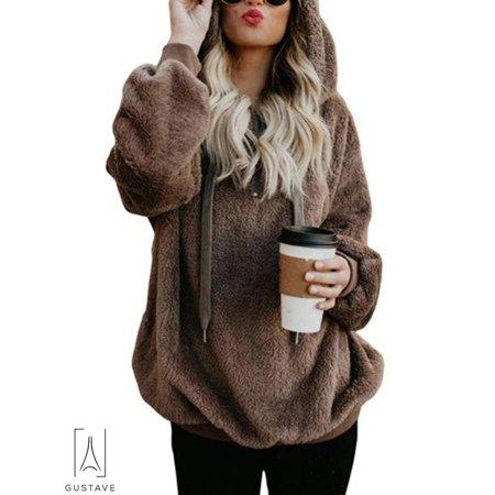 GustaveDesign Women's Fleece Long Sleeve Pullover Hoodies with 1/4 Zip Up Sweatshirt Jumper Warm Sweaters (Brown,XL) Cotton Full Zip Sweater