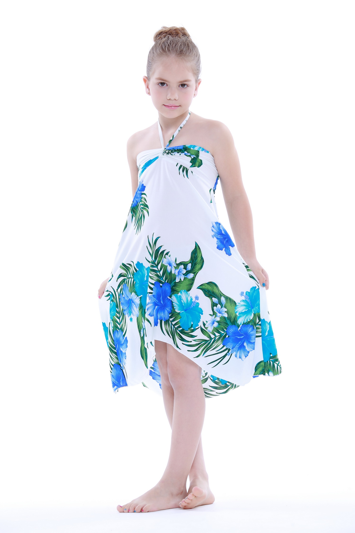 Girl Hawaiian Butterfly Dress in White with Blue Floral Floral Size ...