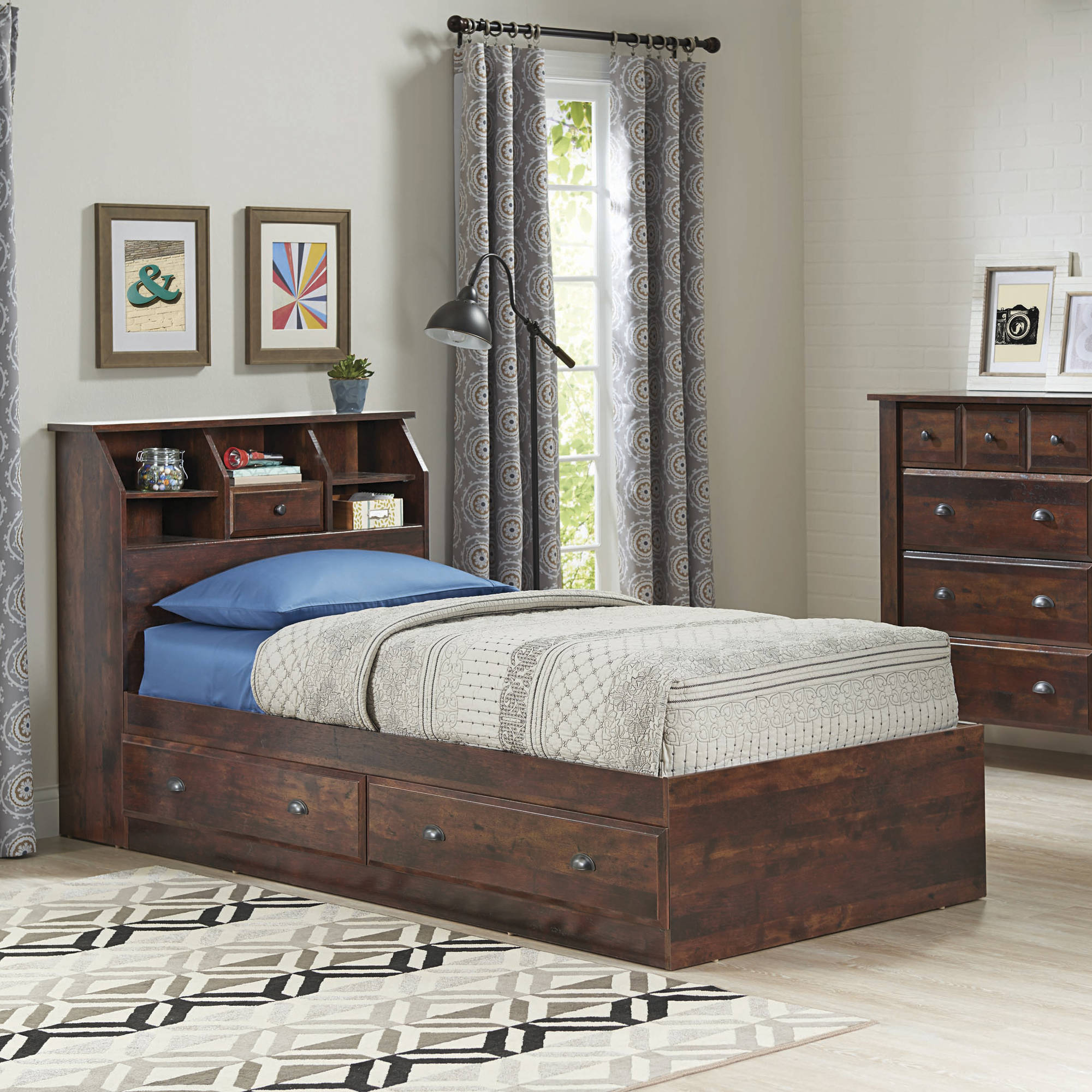 bed brown en twin spark collection drawers bookcases with ip headboard south and shore bookcase